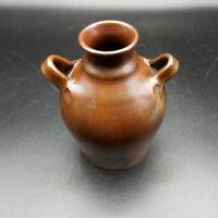 "Little Brown Jug! Vintage small stoneware crock 2 handled JUG 5"" tall 3"" wide."