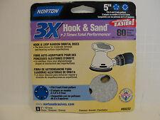 Norton 3X Hook & Sand 5 Inch 80 Grit Coarse, 3 Discs, # 03232 *New*