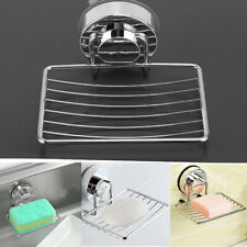 1x Shower Soap Dishes Holder Basket Tray Organizer Bathroom Strong Suction Cup