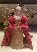 """Victorian Christmas Tree Topper Dan Dee Christmas Red Gold 14"""" tall"""