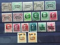 BAVARIA 1919: 19 stamps, MH - used, overprinted Volkstaat Bayer -Freistaat Bayer