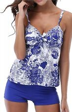 CharmLeaks Women Tankini Set Push Up Swimwear Two Piece Swimsuit With Shorts M