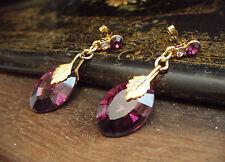Elegant Vintage Deco Style Amethyst Purple Crystal Drop Pierced Earrings