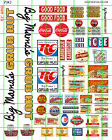 7042 DAVE'S DECALS BIG MAMA'S GRUB HUT w/ ASSORTED CAFE DINER SIGNAGE