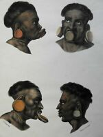 Aimore People Indigenous Brazilian Tribe c. 1850 ethnic view original hand color