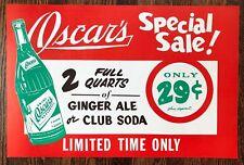 OSCAR's GINGER ALE SODA Bottle Advertising Paper SIGN Vintage Original