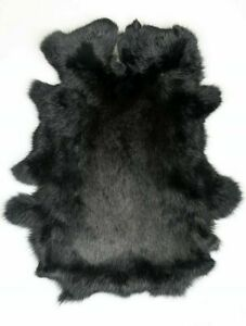 1X High Quality Natural Rabbit Skin Pelt Real Fur Gray Pelt Leather Hide Black