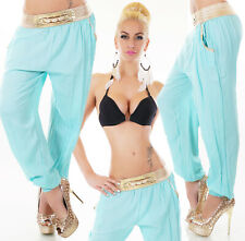 Sexy Miss Damen Trend Harems Pluder Aladin Sarouel Hose gold Bund blau 34/36/38
