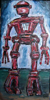 TALL RED ROBOT oil Painting 10x20 canvas mech retro Original art signed Crowell