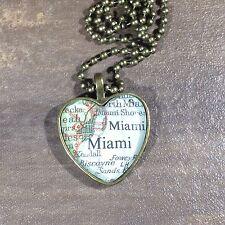 KENDALL BISCAYNE SANDS MIAMA FLORIDA USA Map Pendant bronze necklace ATLAS