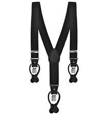 Plain Black Formal Suspenders Braces with Clip & Button Leather Buttons 3.5CM