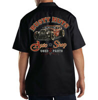 Dickies Black Mechanic Work Shirt Funny Rusty Nuts Auto Shop Used Parts Hot Rod