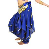 New Belly Dance Tribal Chiffon Costume Harem Pants Skirt & Gold Wavy