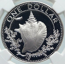 1977 BAHAMAS with CONCH SHELL Vintage OLD Proof Silver Dollar Coin NGC i85811