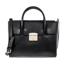 Furla Metropolis Ladies Medium Leather Satchel Black Onyx 820704