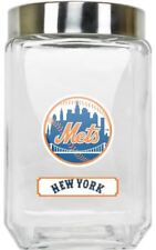 New York Mets Jar Glass Canister Large Container With Lid Duckhouse MLB