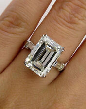 Certified 7.95CT Emerald & Baguette Cut Diamond 14K White Gold Proposing Ring