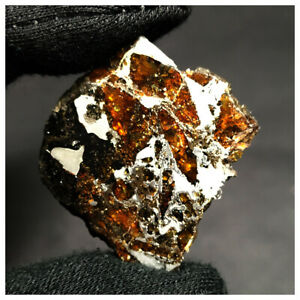 """N1 - """"Awsserd 002"""" New Pallasite Meteorite 9.16g Slice Etched and Stabilized"""