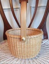 Medium Size Nantucket Basket Oval With Swing Handle Hand Crafted