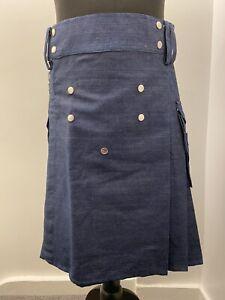 Fashion Kilt Modern Cotton Jeans Kilt For Men's Scottish Traditional Size 38 Blu