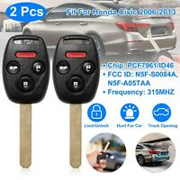 2 For 2006 2007 2008 2009 2010 2011 2012 2013 Honda Civic Remote Car Key Fob