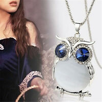 Women Owl Pendant Diamond Sweater Chain Long Necklace Jewelry Choker Decor