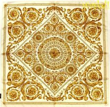 """VERSACE golden Baroque MEDUSA Wreaths Scroll 35""""-square Silk scarf NWT Authentic"""