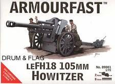 Armourfast 89001 WW2 tedesco leFH 18 105mm cannone SECONDA GUERRA MONDIALE ARTIGLIERIA GUN & Crew 1/72