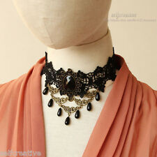 Lady Stone Drop Flower Black Lace Gothic Choker Retro Statement Chunky Necklace