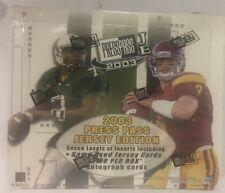 2003 Press Pass Jersey Edition Football Factory Sealed Hobby Box