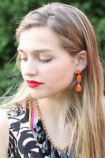 Kate Spade RIVIERA GARDEN ORANGE TANGERINE DANGLE LINEAR EARRINGS CHANDELIER
