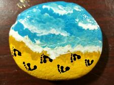 Hand Painted River Rock Stone Garden Art Collectible Footprints In The Sand