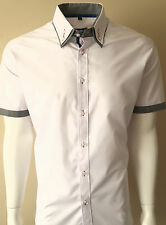 MENS DOUBLE COLLAR SHORT SLEEVE SHIRT FORMAL DRESS CASUAL FM £19.99 TO 14.99(207