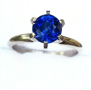 1.05ct Natural VS Blue Sapphire Engagement Solitaire 14K Solid White Gold Ring