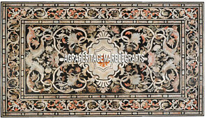 Pietradura Fine Arts Stone Black Marble Top Inlay Dining Marquetry Table H3371