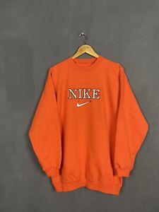 Vintage Nike Spellout Center Swoosh Long Sweatshirt Orange Travis Style Size L
