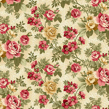 "Ivory Rose Floral Summer Festival Henry Glass Quilt Fabric 26"" remnant #8"