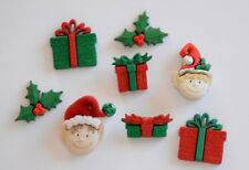 Holiday Elves w Holly & Gifts / Christmas Buttons ~ Jesse James  Dress It Up
