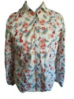 Talbots Size 4 Shirt Top Womens Long Sleeve White Button Down  Bird Print Blouse