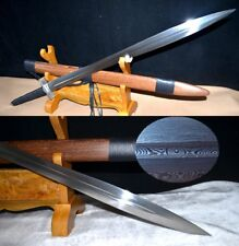 Battle ready Camping Blood Groove Sword knife Hand Forged pattern steel #0164