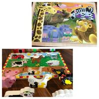 2 Melissa &Doug Wood Puzzles Farm Safari