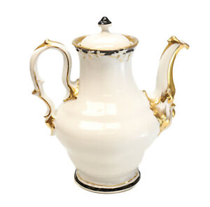 KPM Germany Porcelain Coffee Pot, circa 1860. Black & Gilt Rim