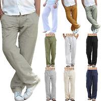 Summer Mens Casual Cotton Linen Baggy Loose Yoga Sport Hippy Solid Long Pants
