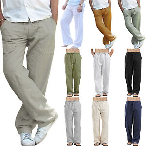 UK Men Comfy Trousers Fitness Baggy Straight Yoga Plain Slim Winter Thin Pants
