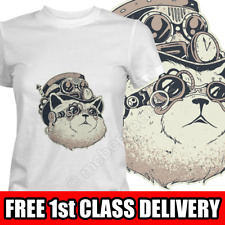 Womens T-Shirts STEAMPUNK CAT Head Face Ladies Tops Womans Graphic Tee T Shirt
