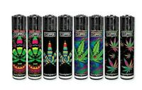 8 Ct Full Size CLIPPER Flint Lighters Refillable ROTATIONAL RAINBOW LEAVES WEED