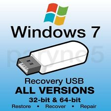 Win 7 Recovery Repair disc -USB 8GB All Versions 32 & 64 bit