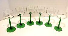 Set of 6 Cordial Glasses ~ Stemware ~ Emerald Green Base ~ France LUMINARC (?)