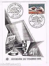 1966 - FDC CP 1°JOUR**/GRAVURE - JOURNEE DU TIMBRE - LILLE - TIMBRE N°1477