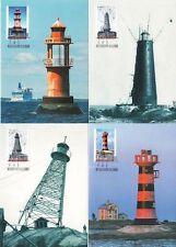 Aland Island Lighthouses Baltic Sea Aland Finland 2008 Maxi Cards (4) FDC